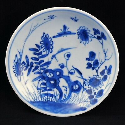 Antique Chinese blue and white porcelain saucer Kangxi period early 18th century