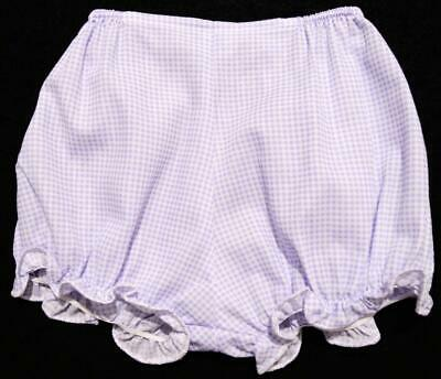 Set Of 3 Newborn Infant Baby Girls Lavender Gingham Fabric Diaper Covers~New