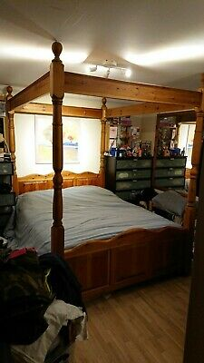 5ft King Size Four Poster Bed Frame Solid Pine Wood Waxed