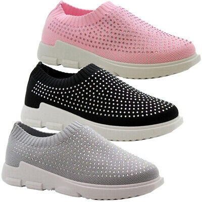Girls Kids Children Flat Diamante Pumps Sneakers Plimsolls Shoes Trainers Size