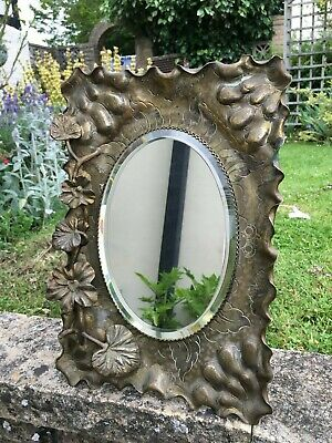 Antique brass art nouveau genuine mirror