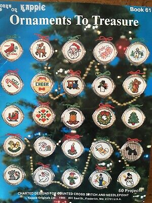 kappie Christmas Ornaments to Treasure cross stitch kit with 20 plastic cases
