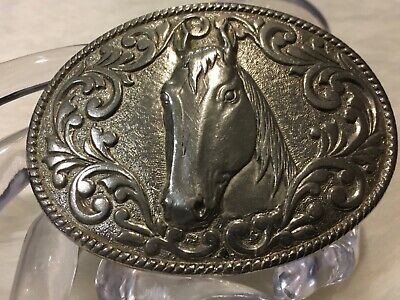 Vintage Western Cowboy Chambers Phoenix 24K Gold Plated HORSE HEAD Belt Buckle