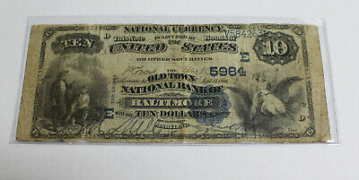 1882 US $10 National Currency * Old Town Bank of Baltimore * Bank Note Ch. #5984