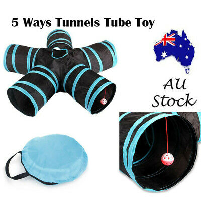 5 Way Pet Cat Kitten Puppy Tunnel Play Toy Foldable Exercise Tunnel Funny Toys
