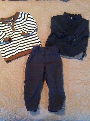 H & M Baby Boy 4-6 Mos 3 Piece Set EUC Denim shirt sweater pants