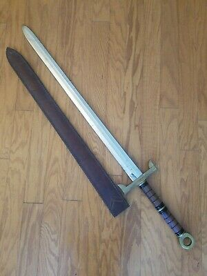 "Iberia Philippines Broad Sword Wood Brass Handle 33"" Blade w/ Leather Scabbard"