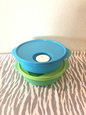 Tupperware Divided Round Containers Set Of 2 Microwave Crystalwave 4 Cups New