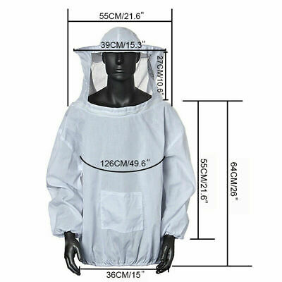 Beekeeping Jacket Veil Bee Keeping Suit Hat Pull Over Smock Protective Coat