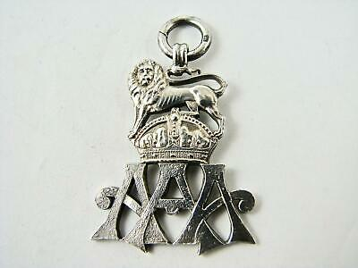 Vintage Edwardian Sterling Silver Fob Pendant Lion Crown  AAA Crest 1938 Full HM