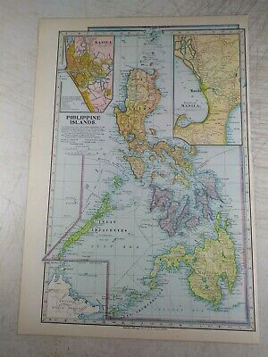 1899 Philippine Islands ANTIQUE MAP Manila British North Borneo -- VG, Colorful