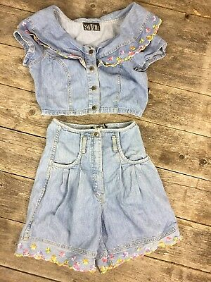 Vintage 80s 90s Switch Outfit jean Crop Shirt High Waist Shorts sz 5 Floral
