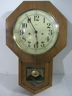 Vintage Ridgeway Regulator Oak 31 Day Wall Clock- W/ Key & Pendulum-Model 758