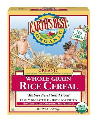 Case of 12, 8 oz boxes -Earth's Best Organic Whole Grain Rice Cereal -  Sealed