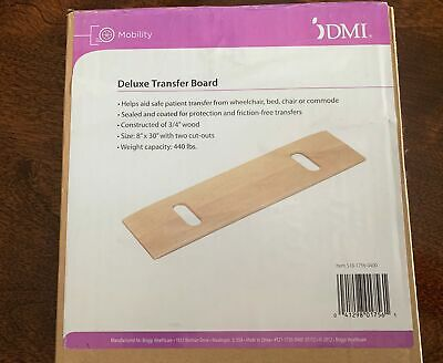 """DMI Mobility Deluxe Transfer Board 440 lb Capacity 8"""" x 30""""  3/4"""" Wood Construct"""