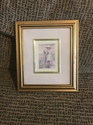 Vintage Gold Shabby Chic Frame With Picture Of A Lady And Baby