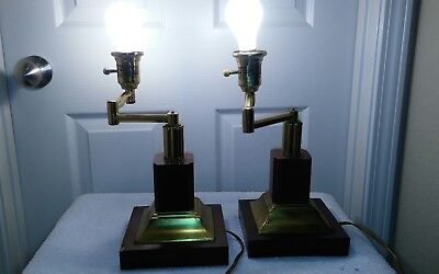 "2 Swivel Arm Vintage Piano Bankers Portable Desk Lamps Brass Plated &""Solid Wood"