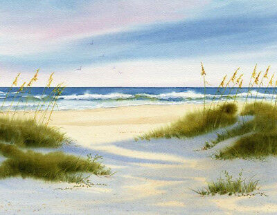 """BEACH SEASIDE seascape birds canvas picture print 12 """"x16 """"stretched over frame"""