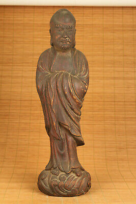 Chinese old wood hand carved arhat buddha statue blessing temple collectable