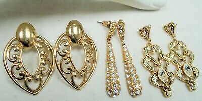Three pairs good quality large vintage gold metal earrings (diamond paste)