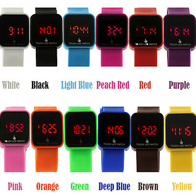Women Men LED Digital Touch Screen Silicone Date Time Sport Wrist Watch Novelty