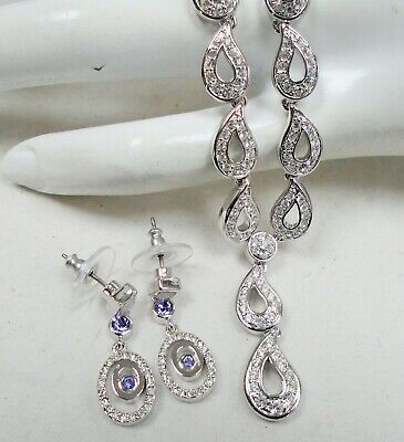 Very good quality vintage silver metal & diamond paste necklace + earrings