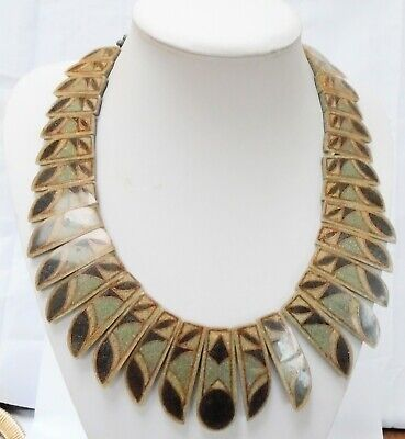Stunning very large vintage Egyptian Revival lucite collar necklace