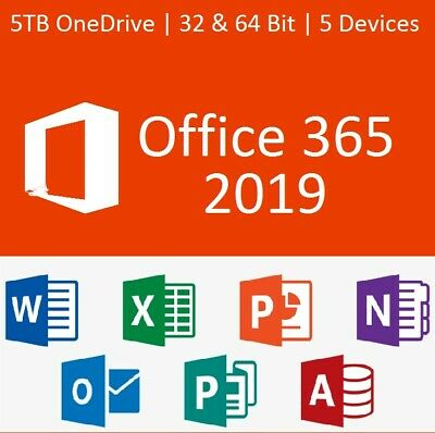 Microsoft Office365 Home Personal 2016 2019 Pro/5 Device PC Download
