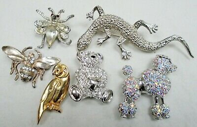 Six vintage brooches (silver metal & diamond paste insect, teddy, lizard, dog)