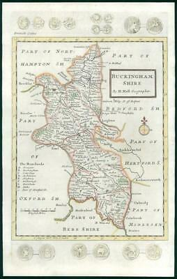 1733 - Rare Antique Map of BUCKINGHAMSHIRE by Herman Moll hand coloured (19)