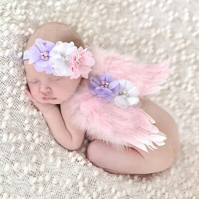 Newborn Toddler Baby Girls Angel Wings & Headband Photo Prop Costume Outfit Heal