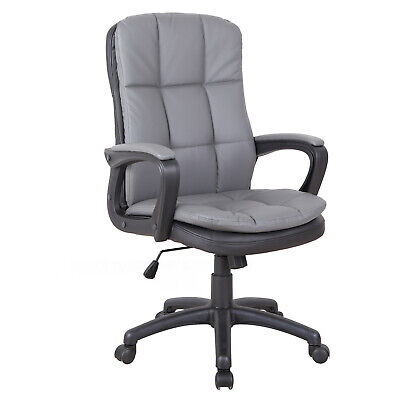 PU Leather Office Chair High Back Adjustable Swivel w/ Padding & Armrests Grey