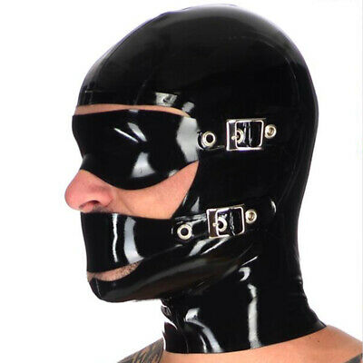 Open Face Latex Hood with Removable Eye Mouth Mask Rubber Mask Club Wear Costume