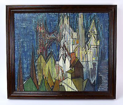 Vintage Cubist Cityscape Oil Painting on Army Canvas signed Hartman