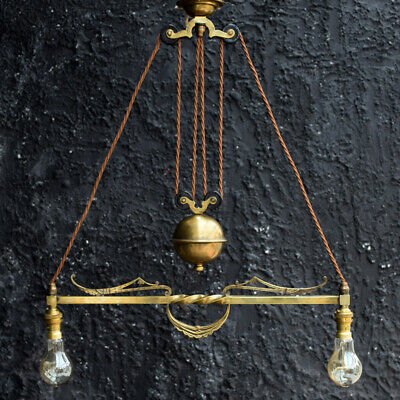 late 19th century 2 branch brass rise and fall chandelier ceiling light stamped