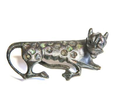 Rare Roman Inlaid bronze brooch in the shape of a leopardess fibula