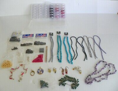 Lot Of Jewelry Making Supplies, Beads, Strands, Seed Bead Case