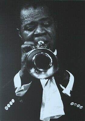 Dennis Stock Photo Kunstdruck 34x48cm Louis Armstrong playing the trumpet 1958