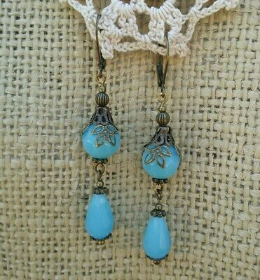 Vintage Victorian Style Earrings Blue Opaque Facited Glass Teardrop Bead Dangle