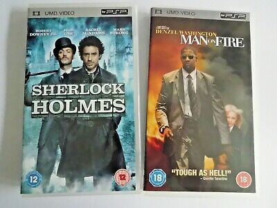 PSP * SHERLOCK HOLMES & MAN ON FIRE *  x2 UMD MOVIE BUNDLE * ROBERT DOWNEY JR