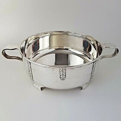 Art Deco Silver Plate Serving Dish w Stirling Silver Mounts :A8