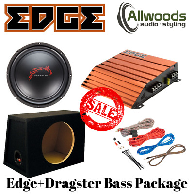 """Edge ED7300 + Dragster DWB125 12"""" Complete Bass Package 300W RRP £169 CHEAP"""
