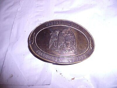 Vintage Lewis Rare Western Union Telegraph Company Solid Brass Belt Buckle