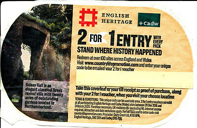 ENGLISH HERITAGE / CADW 2 FOR 1 ENTRY VOUCHER - expires 31 March 2020