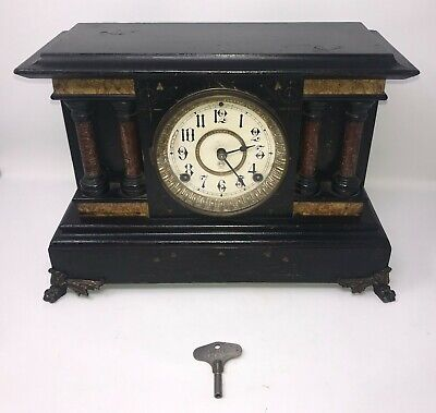 Vintage Smith Enfield w/ Seth Thomas Movement 8 Day Black Mantle Pillar Clock