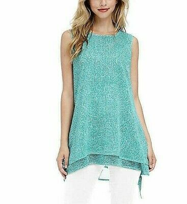 NWT Fever Ladies Double Layer Tank Top XXL Tunic Aqua Speckle Green Blouse NEW