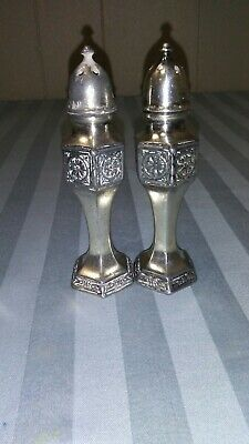 Vintage W.B. MFG Co Salt & Pepper Shakers Ornate Silver A5 8