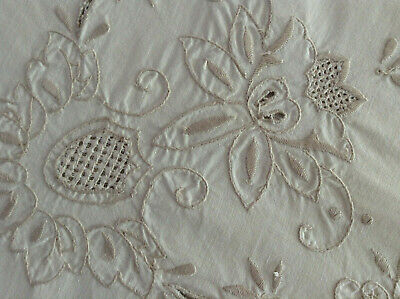 Lovely Antique/Vintage French Hand Embroidered TableCloth Richelieu 41x43""