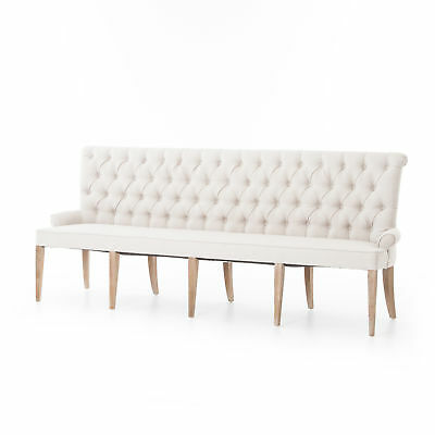 "95.25"" Catena Light Sand Bench 100% Polyester Parawood Whitewash Modern Contemp"