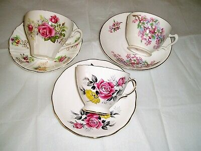 vintage lot of Teacups and saucers , Pink florals , English china